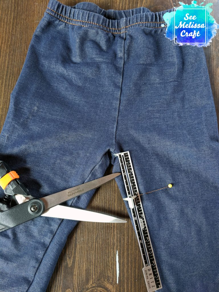 Jeggings measured for cutting