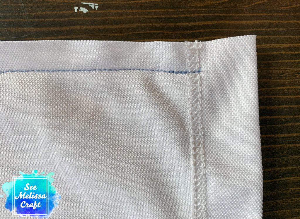 Close up of hem seam
