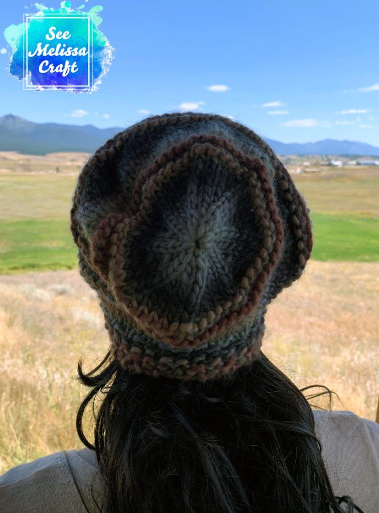 Back of slouchy bulky knit hat
