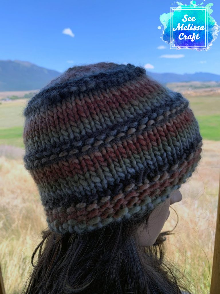 Beanie profile of bulky knit hat