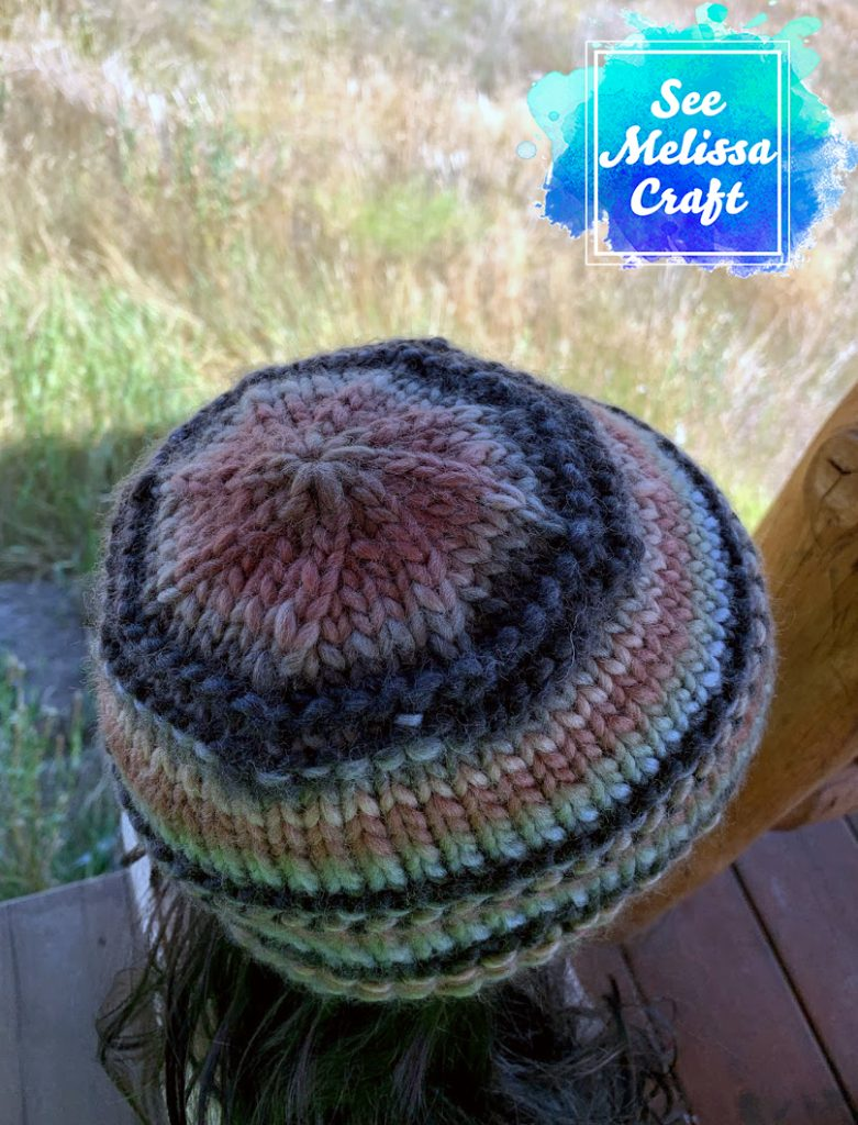 Top view of bulky knit hat