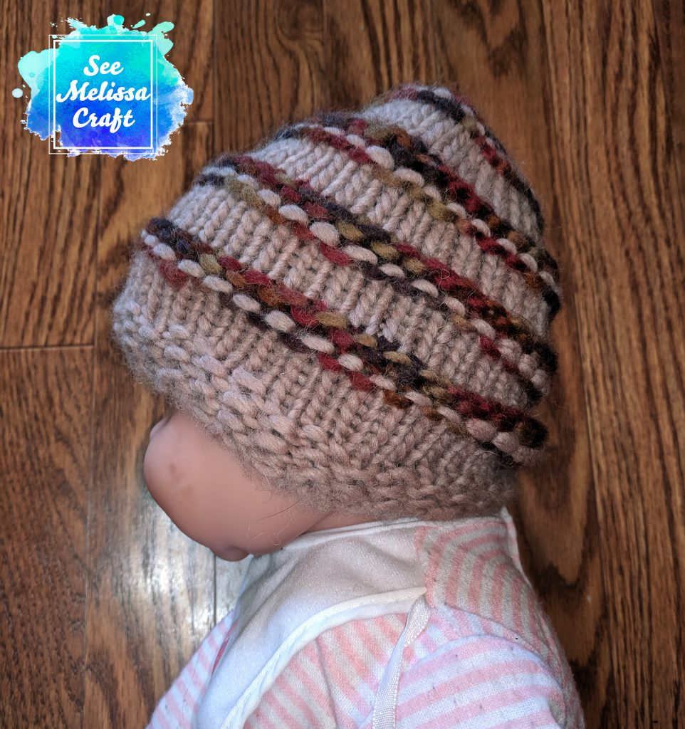 Side of child hat on baby
