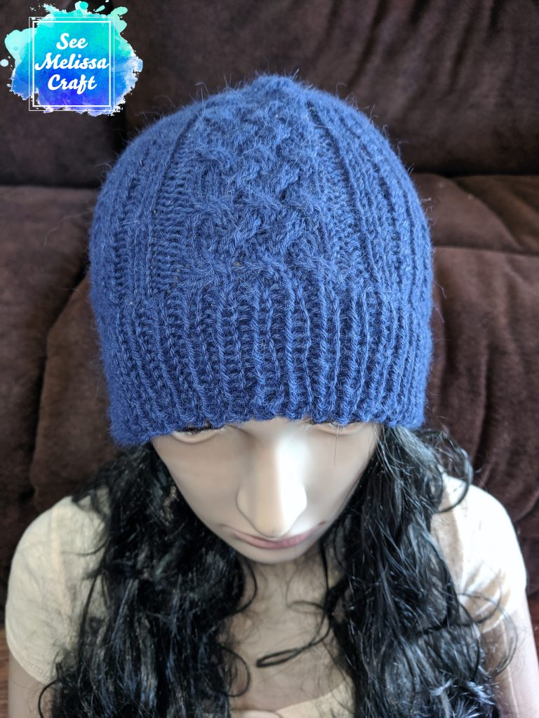 Sheridan cable knit hat pattern top view