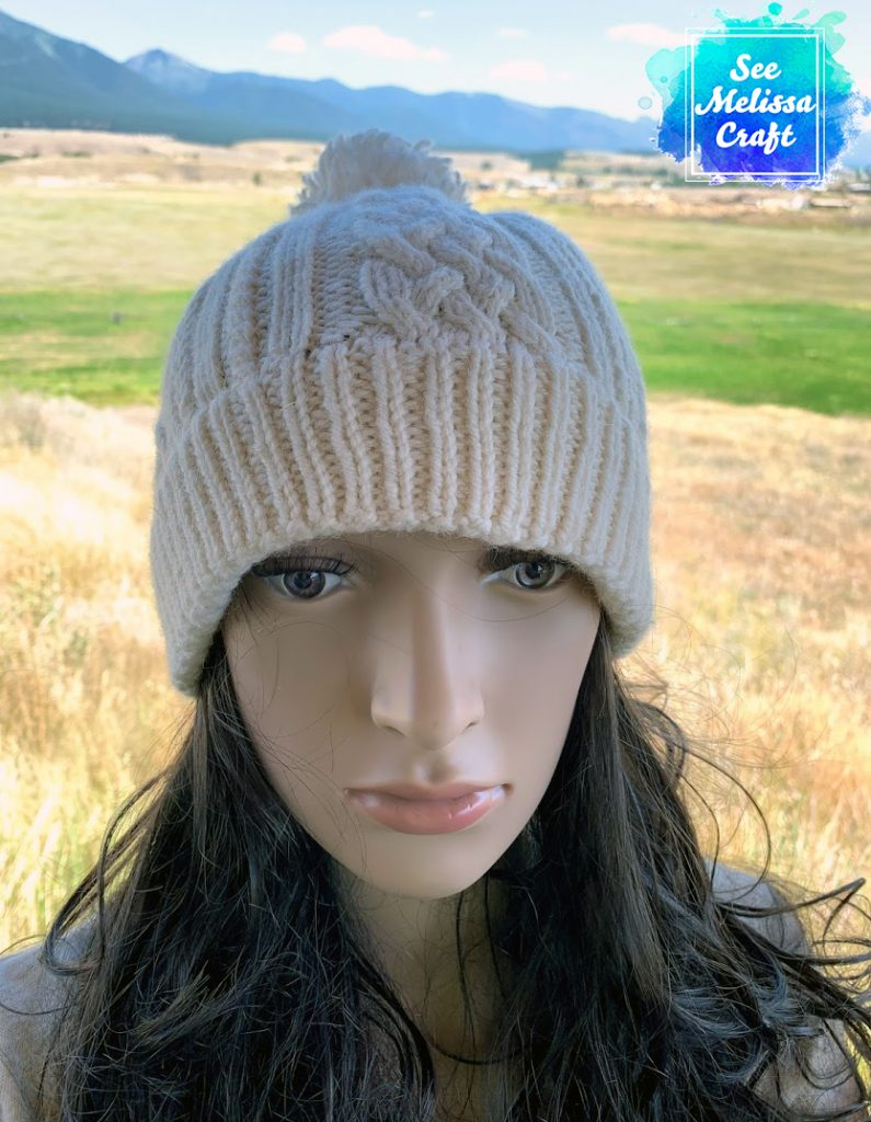 Sheridan cable knit hat pattern front view