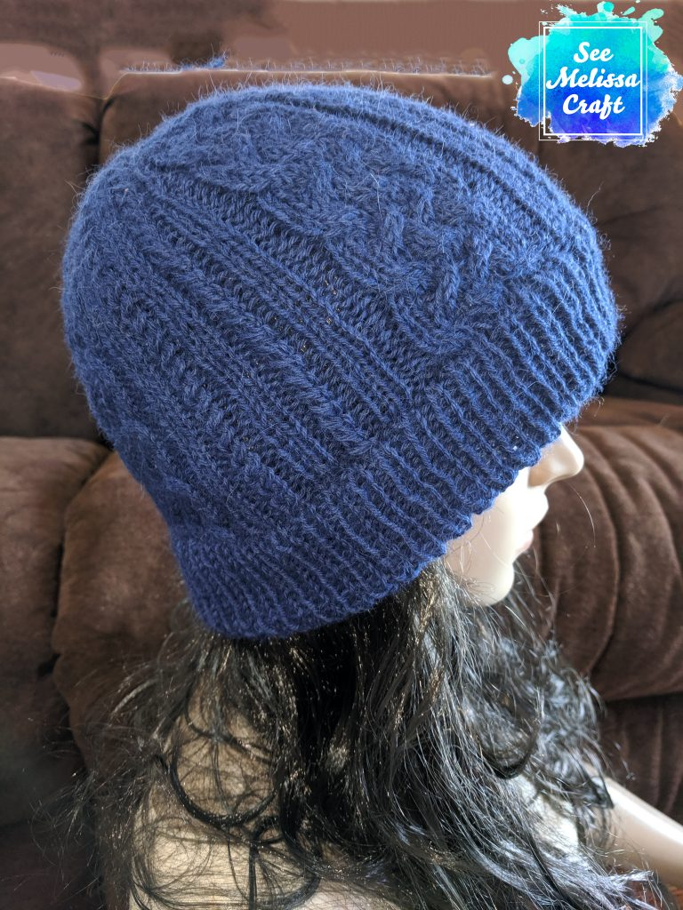 Sheridan cable knit hat pattern side view