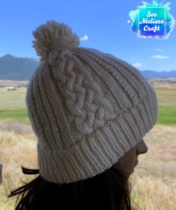 Sheridan cable knit hat pattern profile view