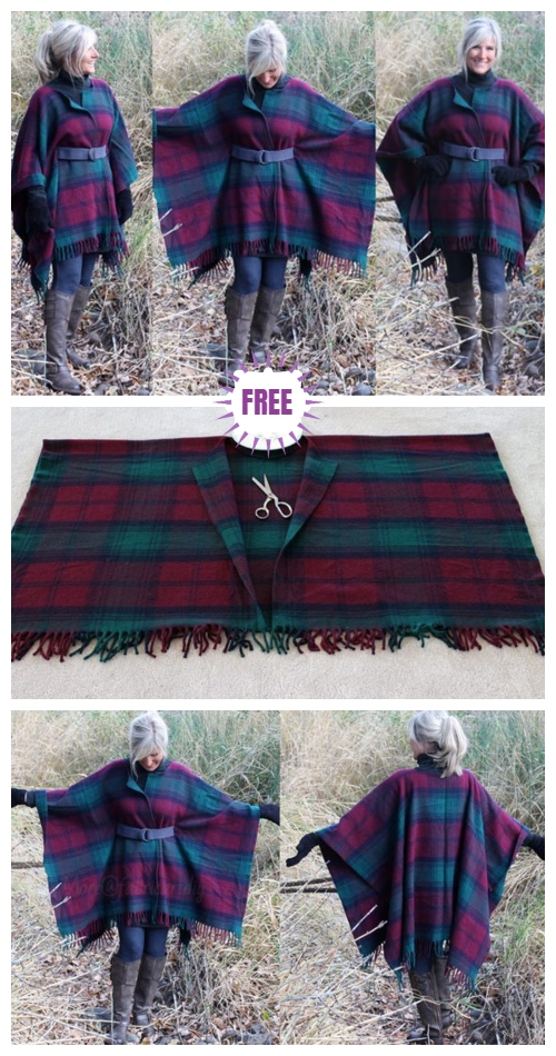 Refashion Blanket into Blanket Coat from Fab Art DIY