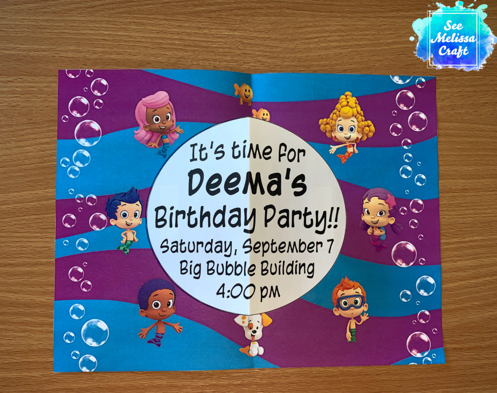 Inside of Bubble Guppies birthday party invitation