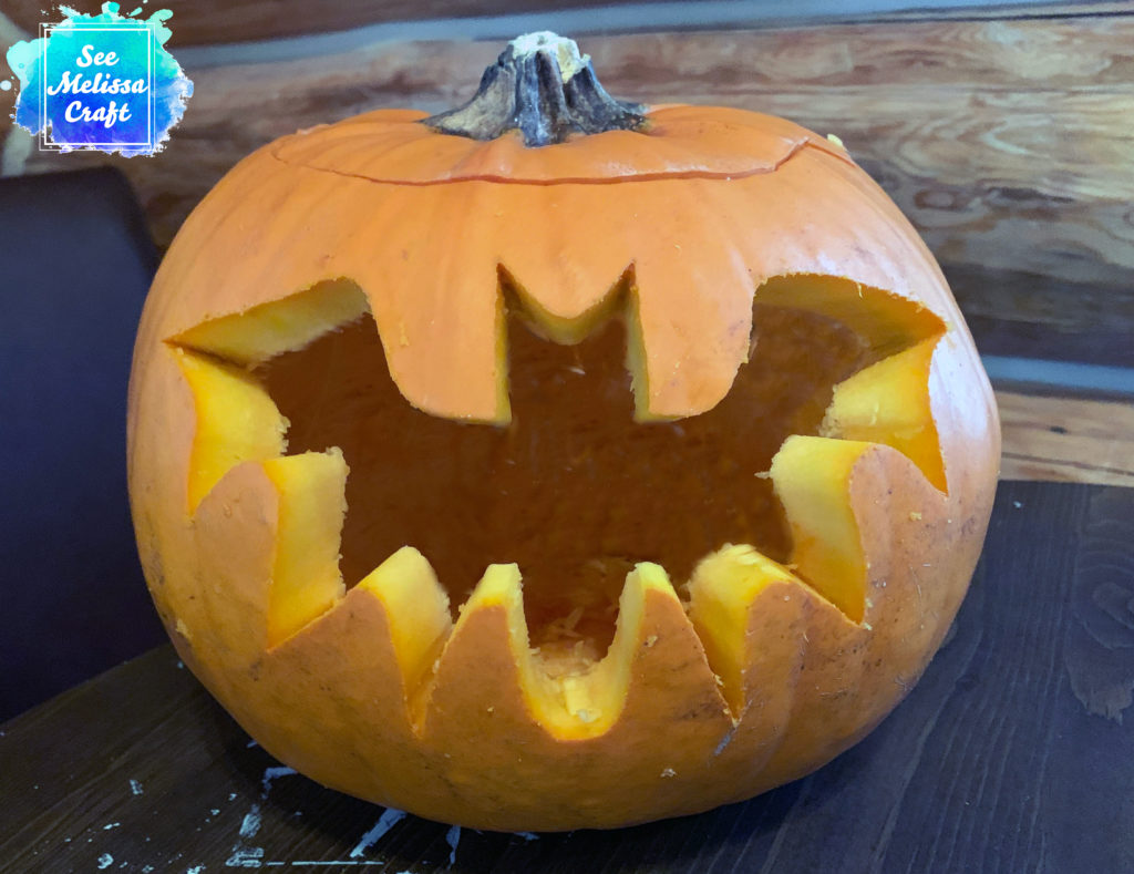 Bat from free template carved into pumpkin