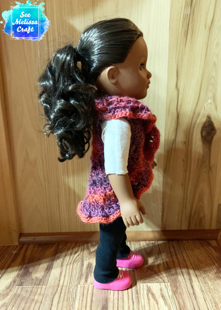 Side of crochet doll vest